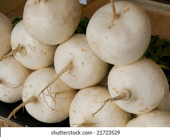Round white Japanese kabura turnips in a shop famous in Kyoto Japan