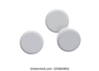 Round white pills isolated On white background