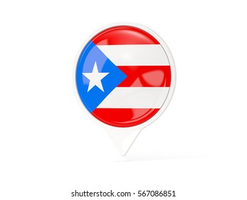 Round white pin with flag of puerto rico isolated on white. 3D illustration