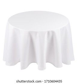 Round white tablecloth over the table isolated on white background