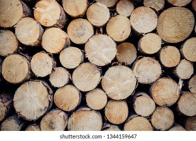Round wood stacked