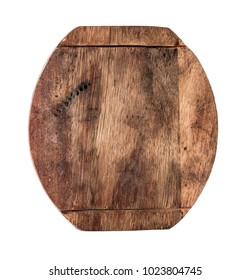 round wooden cooking board isolated on a white background.