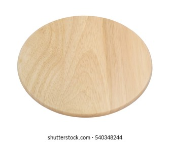 Round wooden cutting board isolated