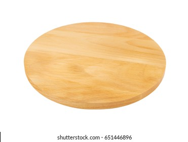 Round wooden cutting board isolated on white