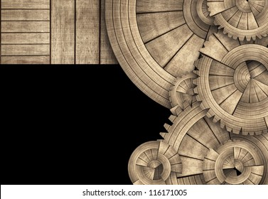 Round Wooden Gears and Boards Template