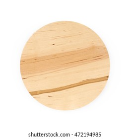Round wooden jar's cap isolated over the white background