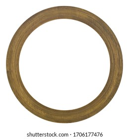 Round wooden picture frame isolated on white background close-up.