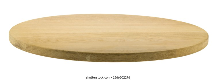 Round wooden pizza board isolated on white background