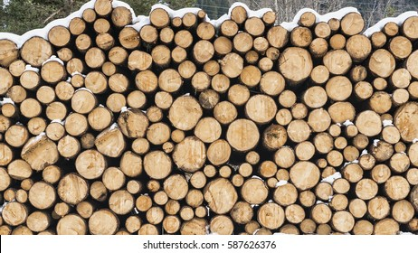 Round Wooden Stacked Piles covered with snow