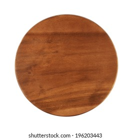 Round wooden tray salver isolated over the white background, above view