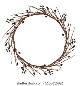 Round wreath from dry twigs with black berries isolated on white background. Flt lay. Top view.
