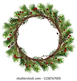 Round wreath from dry twigs and Christmas tree branches with black and red berries isolated on white background. Flt lay. Top view.