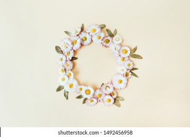 Round wreath frame copy space mock up. Daisy chamomile flowers background. Flat lay, top view floral summer concept.