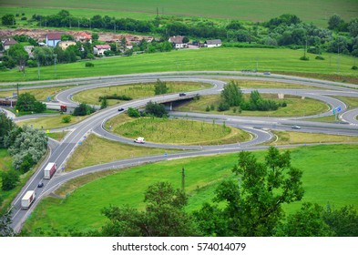 Roundabout from above in spring nature - traffic photo