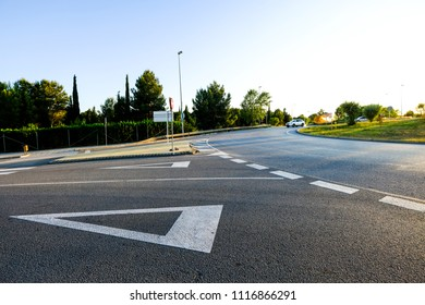 roundabout at the entrance of the AP-7 motorway in Sant Cugat del Valles in the province of Barcelona in Catalonia Spain
