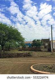 A roundabout and the streets in a traditional village in Cape Verde, Africa