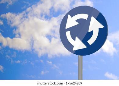 Roundabout symbol over road sign, 3d render