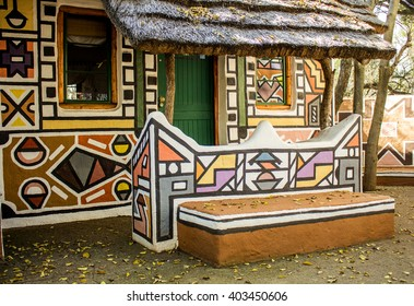 Roundavel in ethnic Ndebele painting style. South Africa. Tribal art. Rondavels - african traditional houses. Modern boho chic.