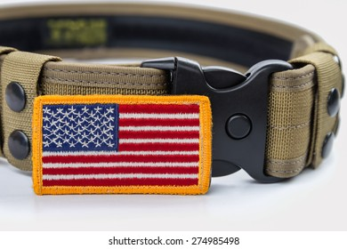 Rounded American flag patch and  tactical belt.