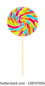 Rounded Colorful Lollipop Candy, White Background