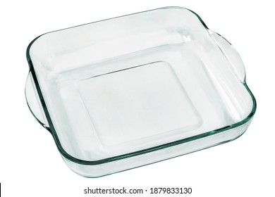 Rounded Square Glass Baking Pan With Curved Handles Isolated On White Background