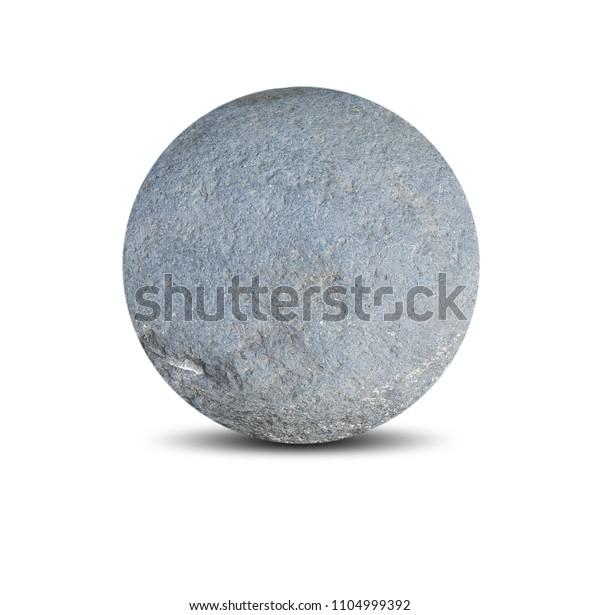 Rounded Stone Isolated On White Background Stock Photo Edit