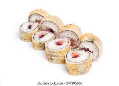 Rounded sushi maki on white background