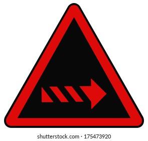 Rounded triangle shape hazard warning sign with arrow symbol. Bitmap illustration