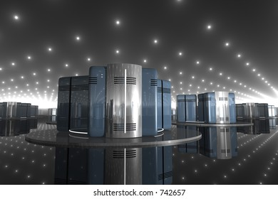 round-edged rendered blue and silver computer-like objects in a shiny reflective room
