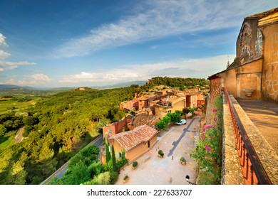 Rousillon with red colored buildings. France.