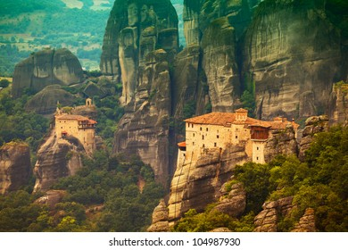 Roussanou Monastery at Meteora Monasteries in Trikala region, Greece.