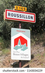 Roussillon, France - July 7, 2018: Roussillon village panel and the most beautiful villages of France panel