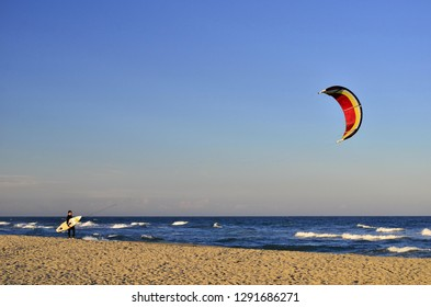 Roussillon, France - october 8, 2014: Mediterranean coast, kitesurfer at Saint-Cyprien Plage, Languedoc-Roussillon Southern France Europe.