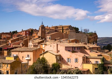 Roussillon, a french village in the Provence. Famous for the ochre cliffs. One of the former ochre quarries can be visited via the Sentier des Ocres (Ochre Path). The village stands on an ochre ridge.