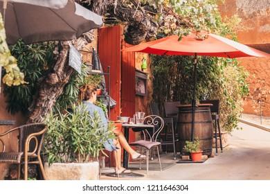 Roussillon, Vaucluse, Provence-Alpes-Cote d'Azur, France, September 25, 2018: Street view