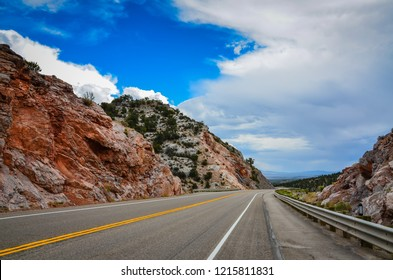 Route 50, known as the Loneliest Road in America, as it departs Ely, Nevada heading east through rocks and desert.