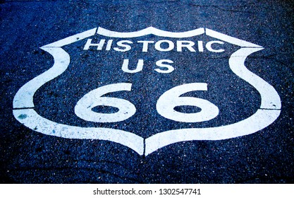 Route 66 asphalt road in United States of America - trip and travel through Oatman Arizona