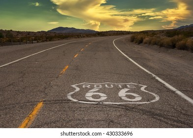 Route 66 in California at sunset