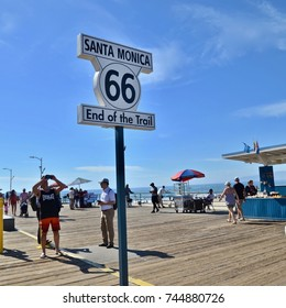 Route 66, End of the Trail sign on Santa Monica Pier, Los Angeles, California,USA. October 2017