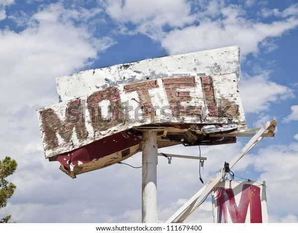 Route 66 Mojave desert motel sign ruin in southern California.