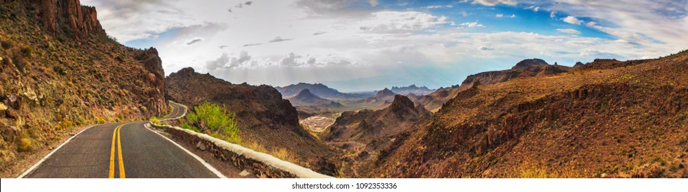ROUTE 66 - OATES, SITGREAVES PASS IN BLACK MOUNTAINS, ARIZONA / CALIFORNIA - PANORAMA - AERIAL VIEW. DRONE SHOT.