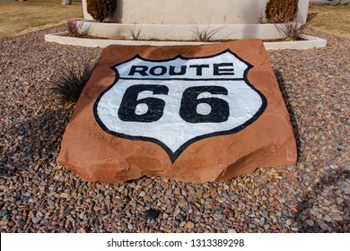 Route 66 Painted on Sandstone in Holbrook Arizona