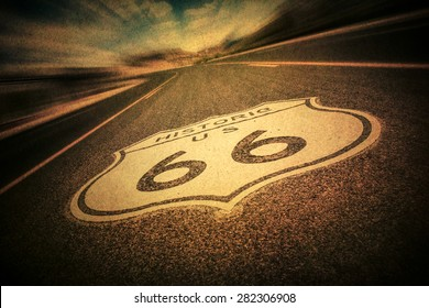 Route 66 road sign with vintage texture effect