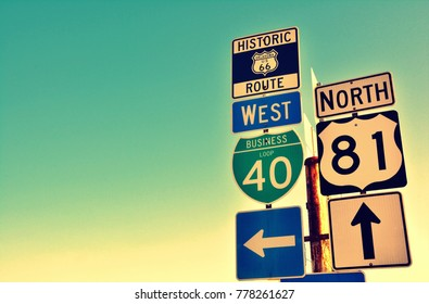 Route 66 road signs on Oklahoma, US.