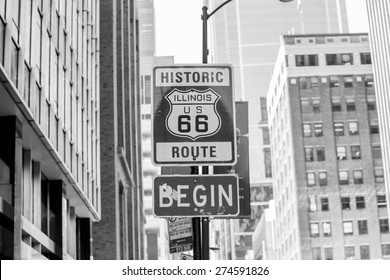 Route 66 sign, the beginning of historic Route 66, leading through Chicago, Illinois.