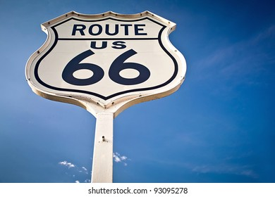 Route 66 sign on blue sky background