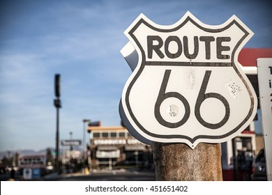 Route 66 sign on a US highway