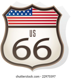 Route 66 sign with us flag - Raster Version