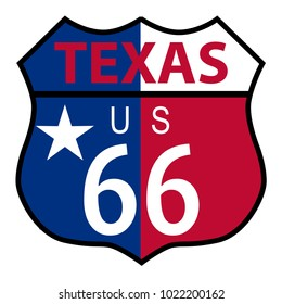 Route 66 traffic sign over a white background and the state name Texas with flag