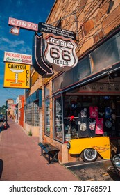 Route 66 Williams town near the Grand Canyon. Old retro cars route 66 signs and classical oil wagons. April 10, 2017